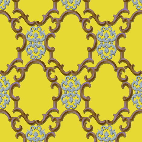 cartouches in gold fabric by nlsd on Spoonflower - custom fabric