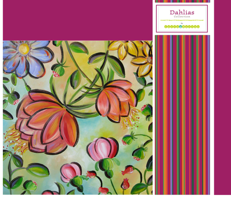 Dahlias Market Bag fabric by snowflower on Spoonflower - custom fabric
