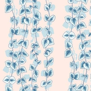 String of Hearts Succulent Vine in Blue on Nude