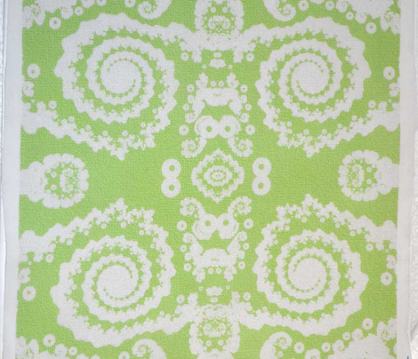 Mock lace in green and white