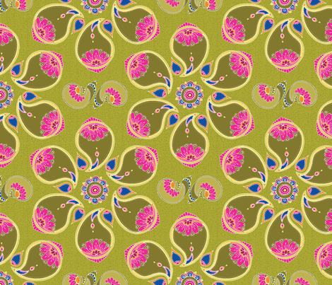 paisleyFlower fabric by thelazygiraffe on Spoonflower - custom fabric