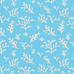 Seaweed Branches Peach on Blue