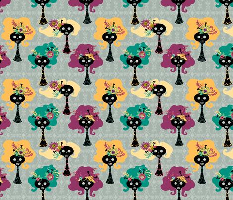 big hair skellies 1 fabric by skellychic on Spoonflower - custom fabric