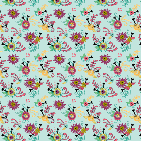 big hair skellies 3 fabric by skellychic on Spoonflower - custom fabric