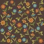 Late Summer Flowers Ditzy Brown.