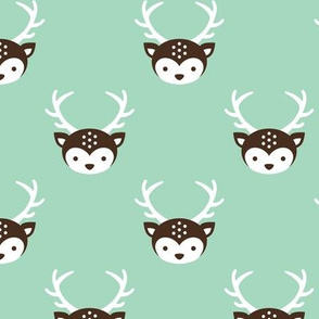 Cute retro kids uni colorful reindeer antlers deer fall illustration pattern MINT