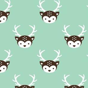 Cute retro kids uni colorful reindeer antlers deer fall illustration pattern MINT