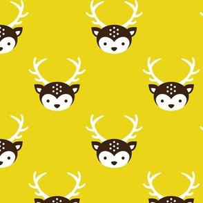Cute uni kids reindeer antlers deer illustration pattern LIME GREEN