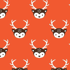 Cute kids uni colorful reindeer antlers deer illustration pattern HOT ORANGE