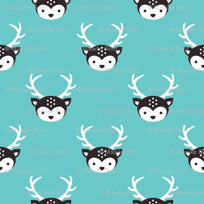 Cute little boy reindeer antlers deer illustration pattern AQUA