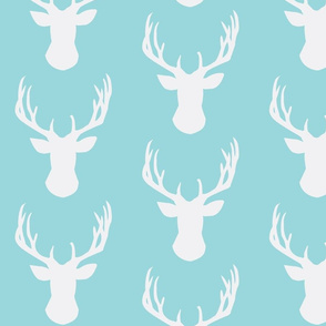 Mint Stag Head Combed Cotton