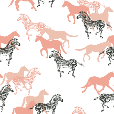 horse_coral__grey fabric by lpt-workshop on Spoonflower - custom fabric