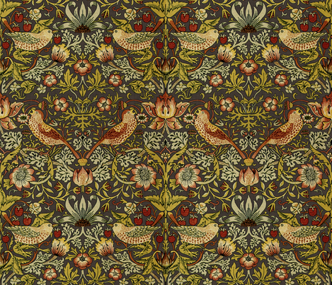 William Morris Strawberry Thief Autumn Linen Fabric By Peacoquettedesigns On Spoonflower