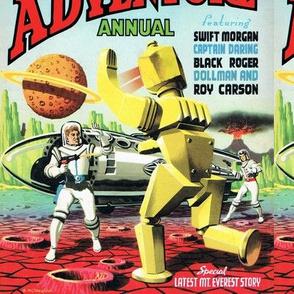 vintage retro astronauts science fiction futuristic spaceships rockets planets space man robots laser guns pilots Saturn moon pop art volcanoes