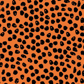 dots // inky orange and black dots halloween spooky scary orange and black dots