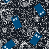 Small Blue Phone Boxes and White Swirls on Black