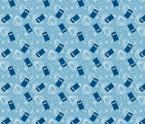 Small Blue Phone Boxes and White Swirls on Black fabric by risarocksit on Spoonflower - custom fabric