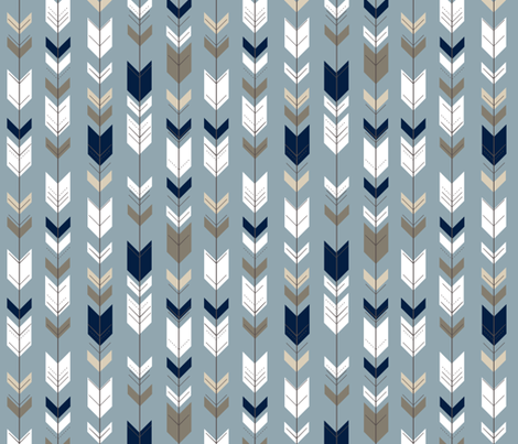fletching arrows - blue (small scale) // rustic woods fabric by littlearrowdesign on Spoonflower - custom fabric