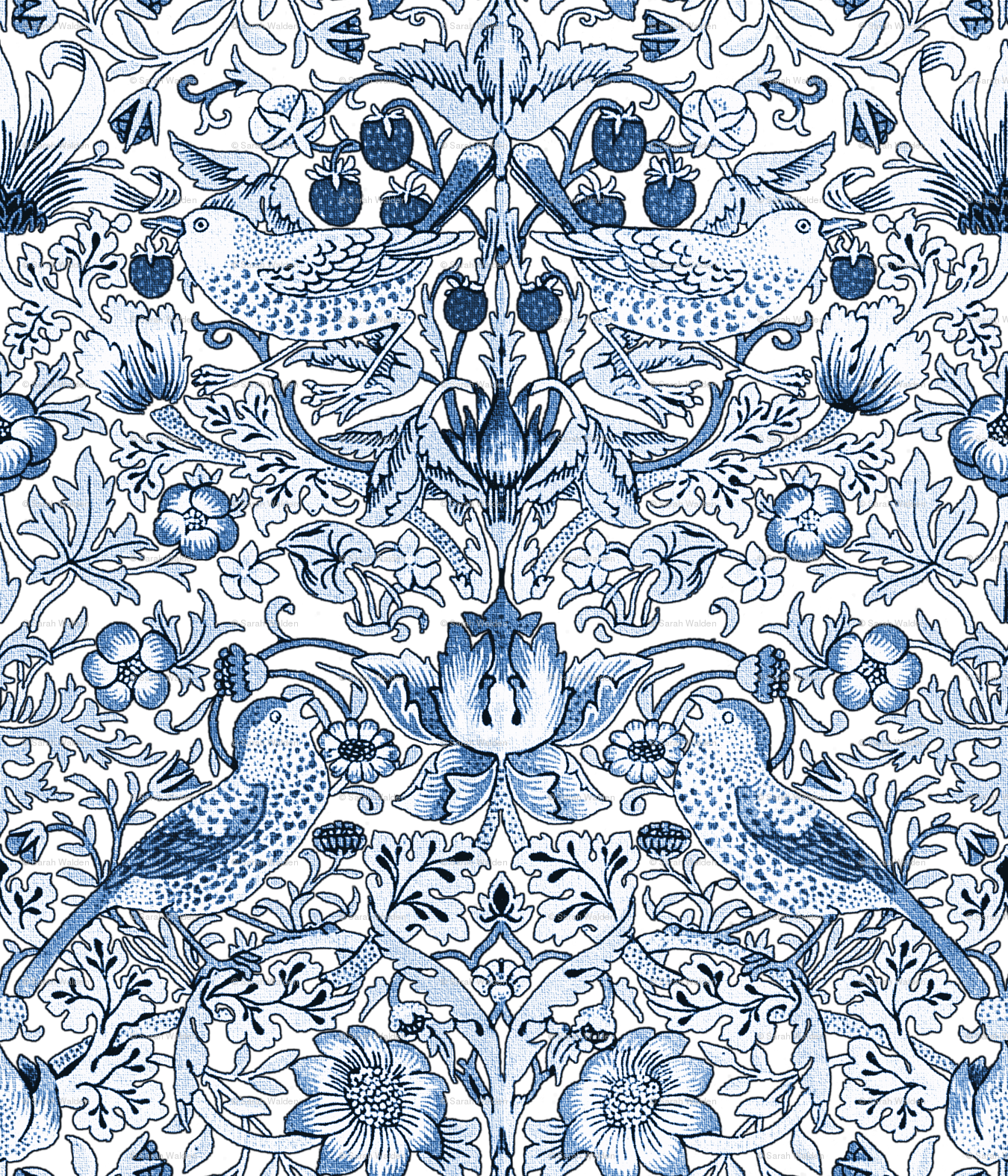 William Morris Strawberry Thief Blue And White Light Wallpaper