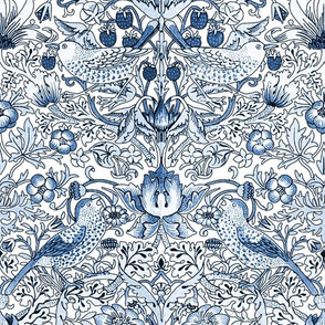 William Morris ~ Strawberry Thief ~ Blue and White ~ Light