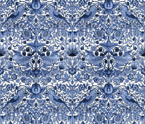 William Morris Strawberry Thief Blue And White Fabric By Peacoquettedesigns On Spoonflower