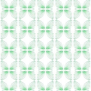 Butterfly Spirals Green on White