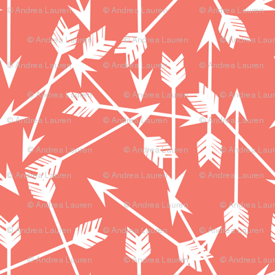 arrows scattered // bittersweet coral girly arrows print for little girls and nursery