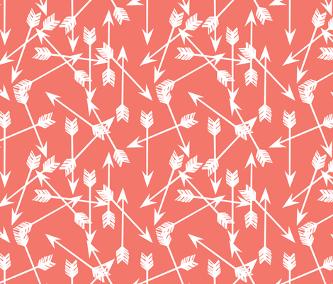 arrows scattered // bittersweet coral girly arrows print for little girls and nursery fabric by andrea_lauren on Spoonflower - custom fabric