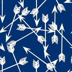arrows scattered // bright navy blue scattered tribal southwest boys print