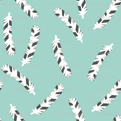 Feathers - Pale Turquoise by Andrea Lauren