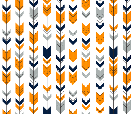 Arrows Orange/Navy/Grey fabric by littlearrowdesign on Spoonflower - custom fabric