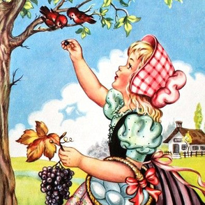 vintage kids kitsch farm children farmers fields cottages girls eggs trees berries grapes birds shabby chic country rural whimsical bonnets maid
