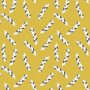 Feathers - Mustard by Andrea Lauren