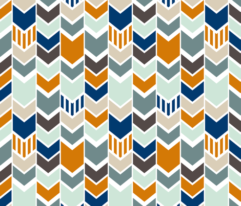 Navy Orange Chevron fabric by mrshervi on Spoonflower - custom fabric