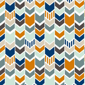 Navy Orange Chevron