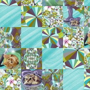 Kittens, Flowers, Umbrellas in Cheat Quilt