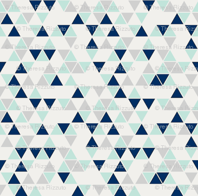 Triangles, mint, navy and gray--reduced scale