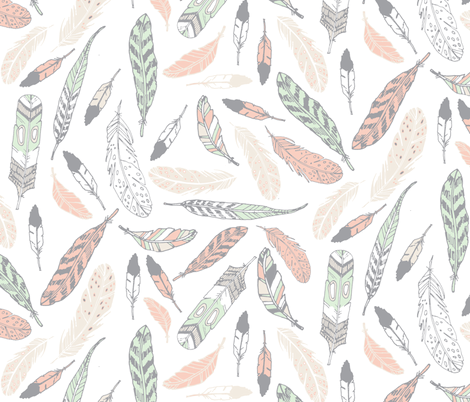 Gypsy Feathers (pastel) fabric by nouveau_bohemian on Spoonflower - custom fabric