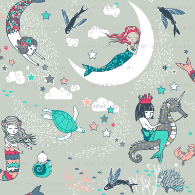 Mermaid Lullaby SMALL (Aqua + Coral)