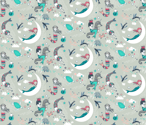 Mermaid Lullaby SMALL (Aqua + Coral) fabric by nouveau_bohemian on Spoonflower - custom fabric