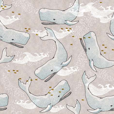 Whales (Light) SMALL  fabric by nouveau_bohemian on Spoonflower - custom fabric