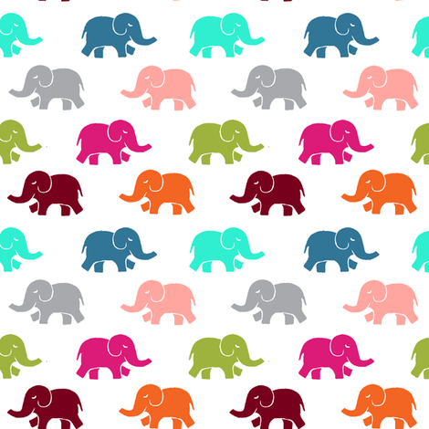 colorful elephants large fabric by lpt-workshop on Spoonflower - custom fabric