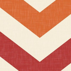 Bold Chevron in Rust and Crimson Linen