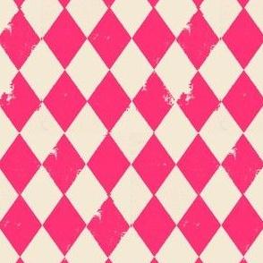 Pink and Cream Grunge Harlequin Diamonds
