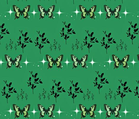Jade butterflies fabric by ladybabybear on Spoonflower - custom fabric