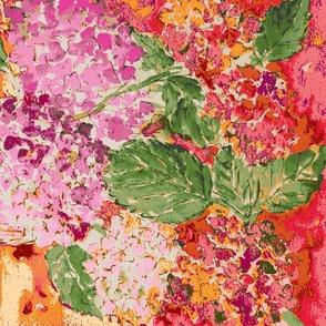 Hydrangeas -pink & Orange