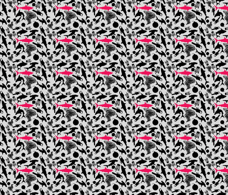 Sharks and Tornados Black and White with Pink fabric by costumewrangler on Spoonflower - custom fabric
