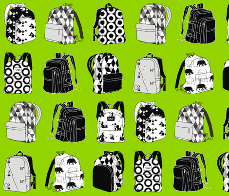 Monochrome Backpack Living in a Lime World fabric by pennyroyal on Spoonflower - custom fabric