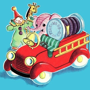 vintage kids retro kitsch children toddler nursery toys fire engines elephants clowns giraffes whimsical