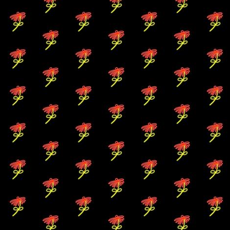 Neon Red Flowers on Black fabric by eve_catt_art on Spoonflower - custom fabric